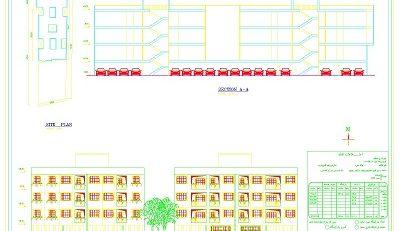 پلان و جزییات ساختمان ۳ طبفه ۱۴ واحدی