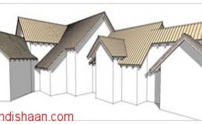 رسم آسان سقف شیب دار در Sketchup