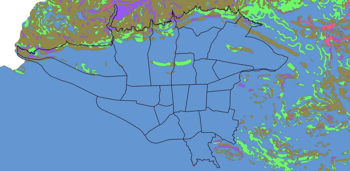 GIS خطر زمین لغزش شهر تهران