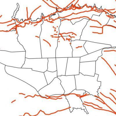 GIS گسل های تهران