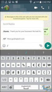 پاسخ سریع در WhatsApp Business